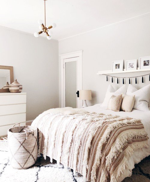 Boho Chic Bedroom in Light Neutrals