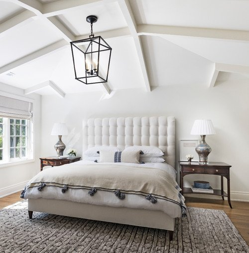 Farmhouse Style Bedroom with Vaulted Ceiling