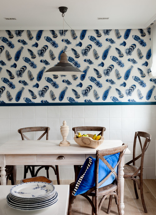 Blue and White Breakfast Nook with Feathered Wallpaper