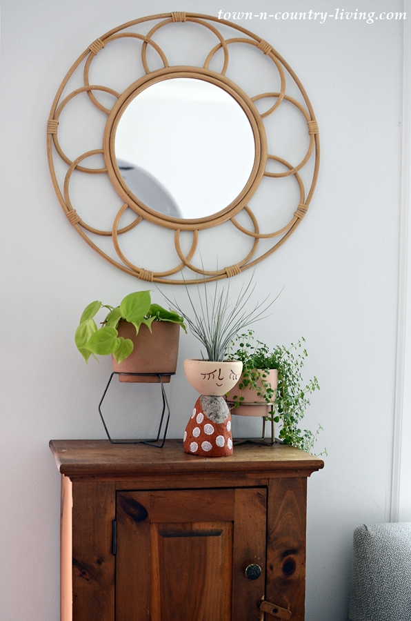 Houseplants and a Rattan Mirror