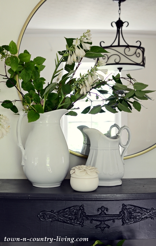 Summer Living with Fresh Greens in White Ironstone Pitcher