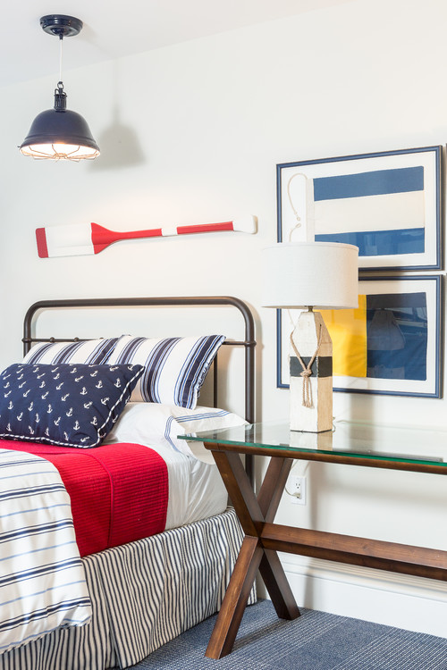 Nautical Bedroom in Red, White, and Blue