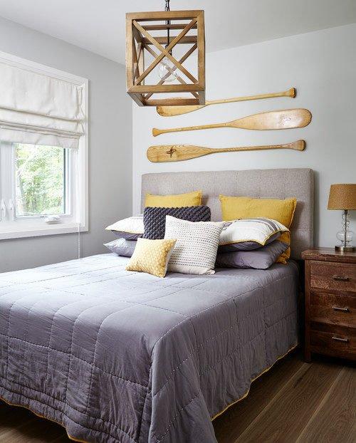 Coastal Style Bedroom with Boat Oars