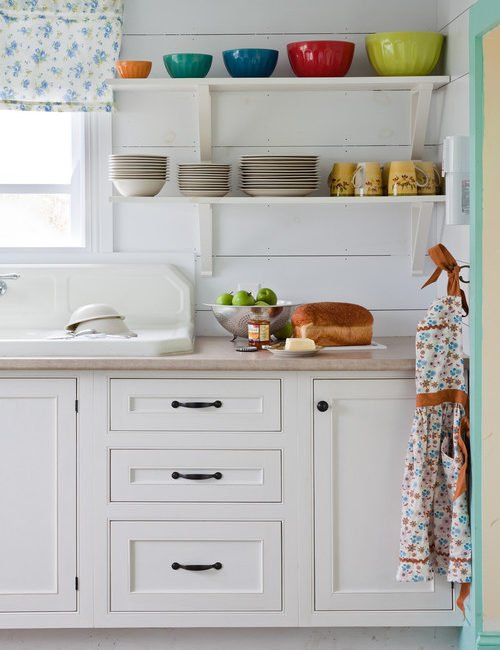 Kitchen Shelves with Colorful Bowls
