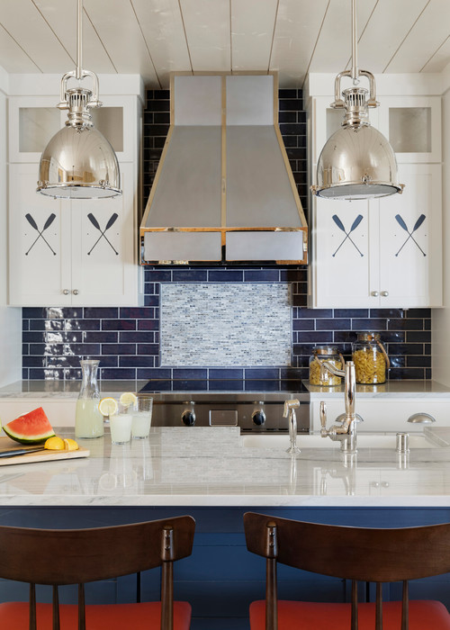 Beach Style Kitchen in Blue and White