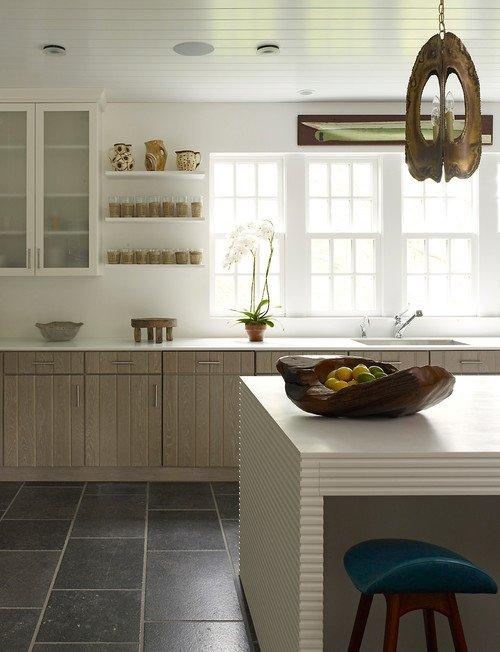 Rustic Organic Wood Bowl on Kitchen Island