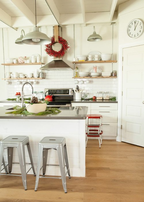White Kitchen with Accents of Red