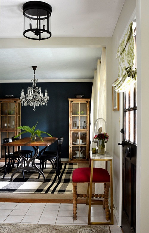 Dining Room with Dark Navy Blue Wall