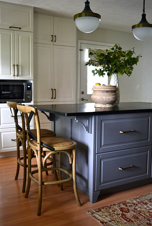 Blue Kitchen Island in Lake Cottage