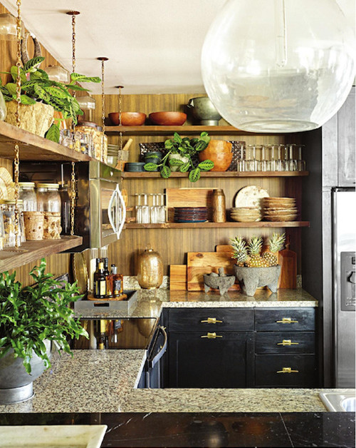 Eclectic Kitchen with Open Shelves