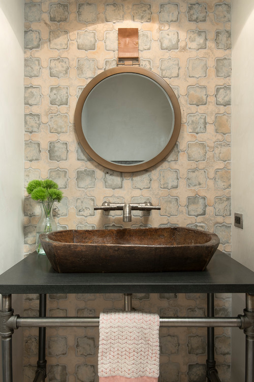 Rustic Bathroom with Wood Sink