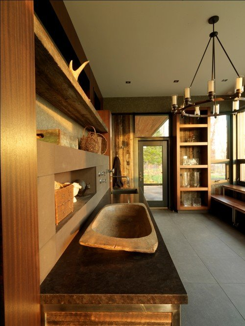 Laundry Room with Natural Wood Tones