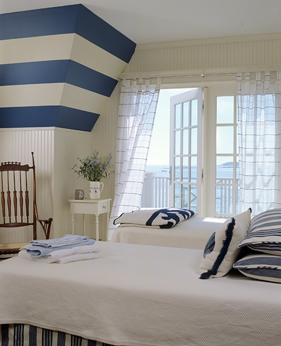 Blue and White Striped Beach Style Bedroom