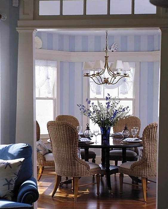 Blue and White Beach Style Dining Room