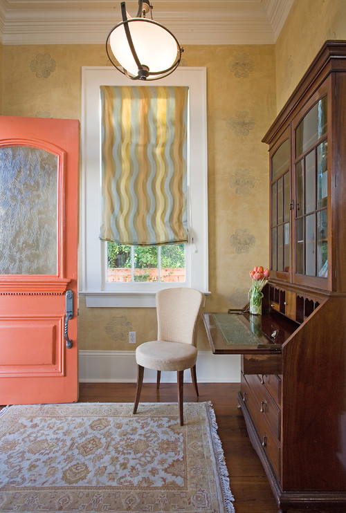 Traditional Entryway with Salmon Colored Door