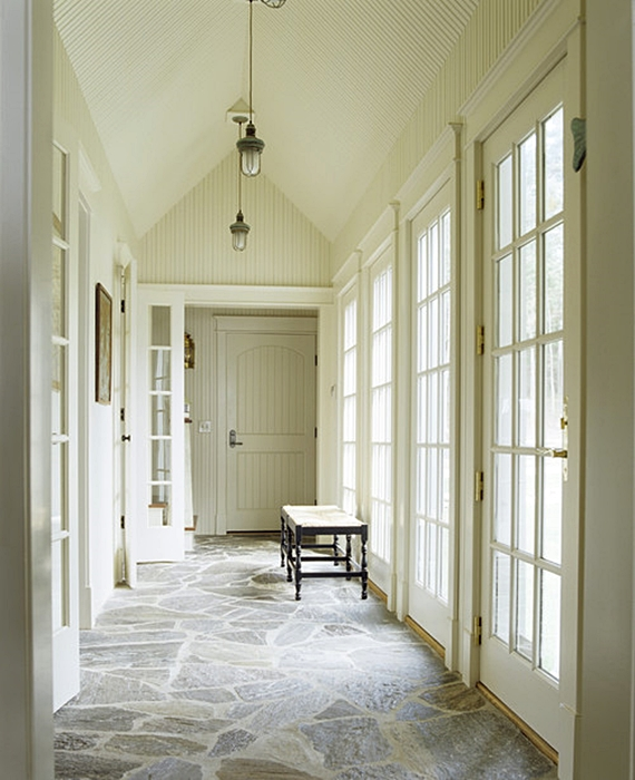 Light Filled Hallway with Cathedral Style Ceiling