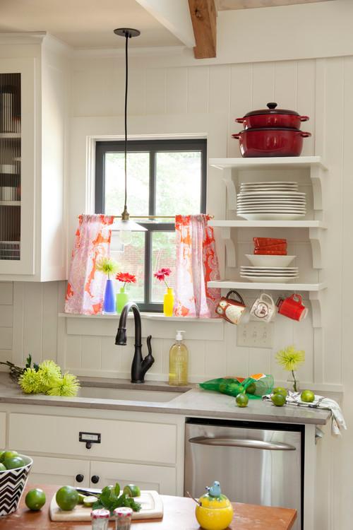 Red and White Farmhouse Kitchen