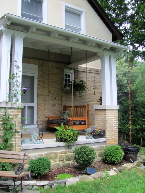 Small Front Porch with Wood Swing