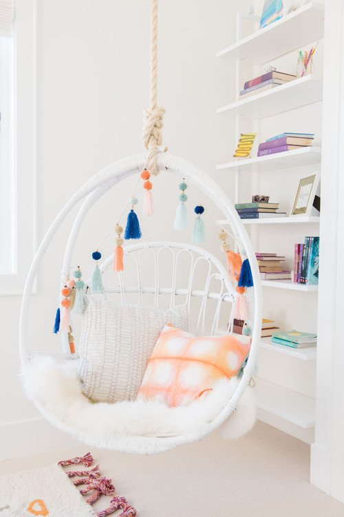Boho Chic Hanging Chair in Bedroom of San Francisco Home
