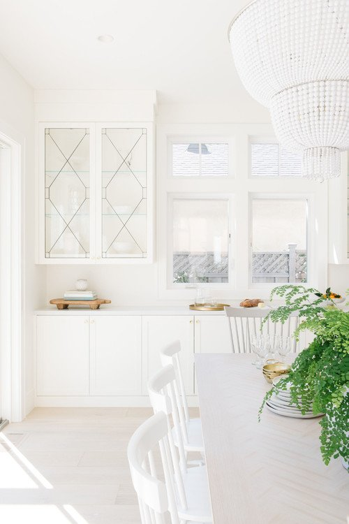 White Transitional Dining Room and Kitchen