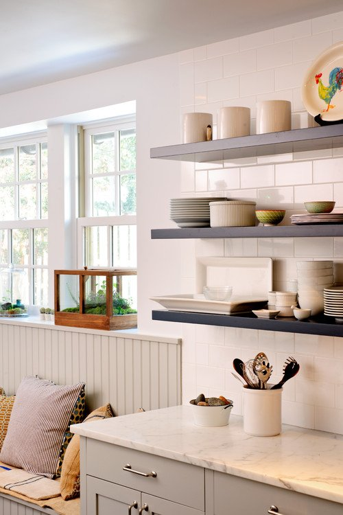 Modern Kitchen Shelves with Dishes