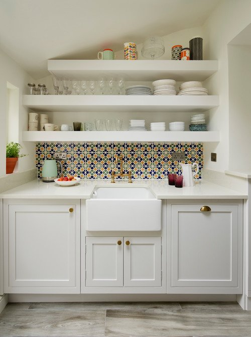 Open Kitchen Shelves with Colorful Tile Back Splash