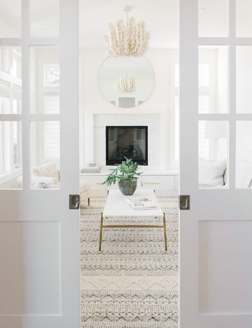 Light and Airy Transitional Home with White Living Room