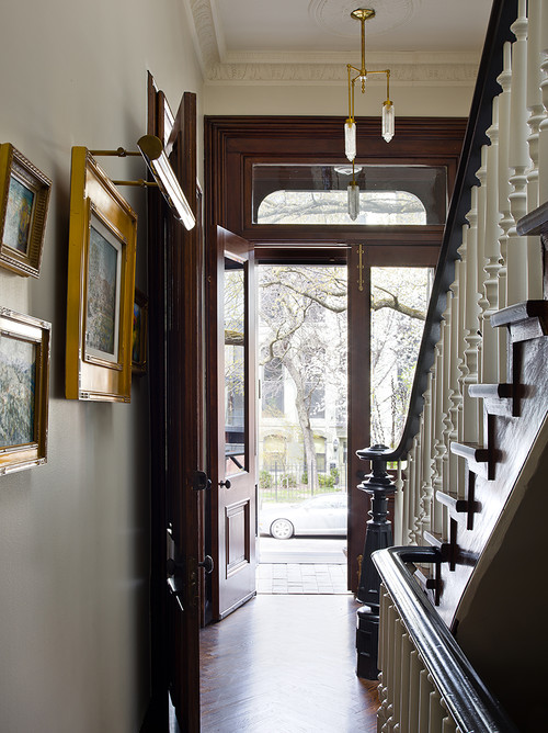 Victorian Style Entryway with Gallery Art Wall