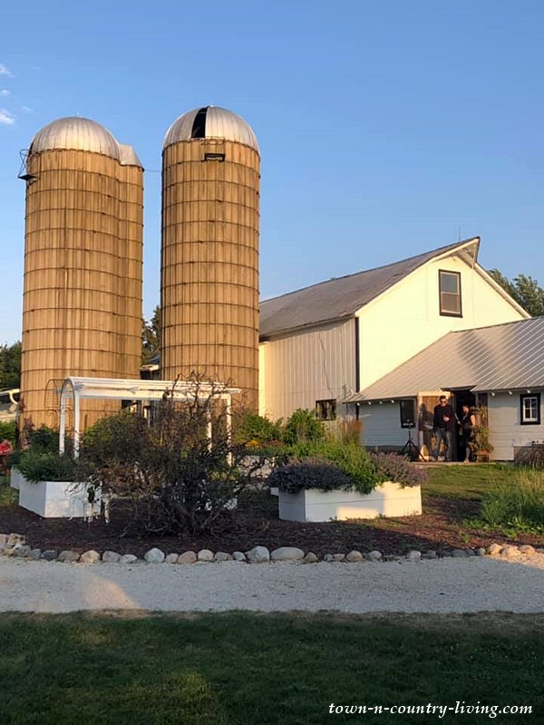 White Barn with Twin Silos