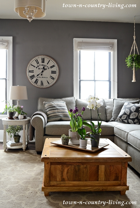 Country Style Family Room in Gray and Neutral Tones