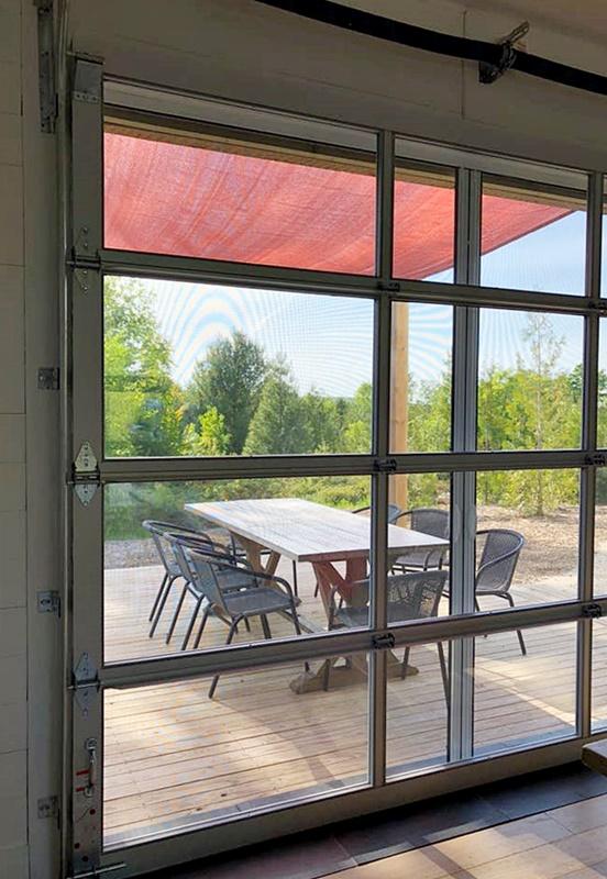 Garage Style Door to Outdoor Patio