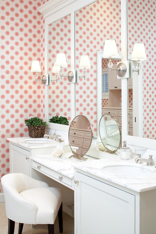 Pink and white transitional bathroom