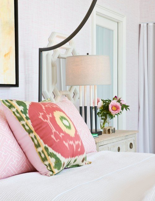 Pink and White Transitional Bedroom