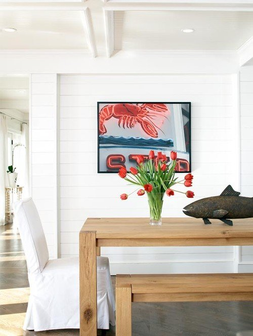 Beach Style Dining Room with White Shiplap Walls