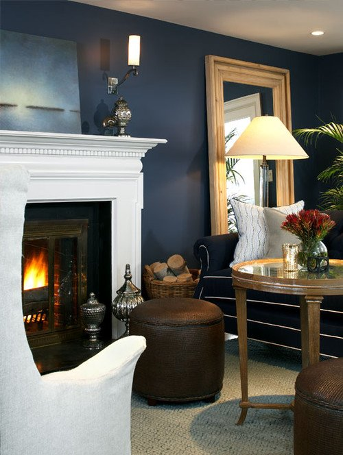 Navy Blue Living Room with White Fireplace Mantel