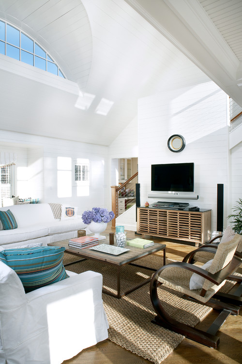 White and Blue Beach Style Living Room with Soaring Ceiling