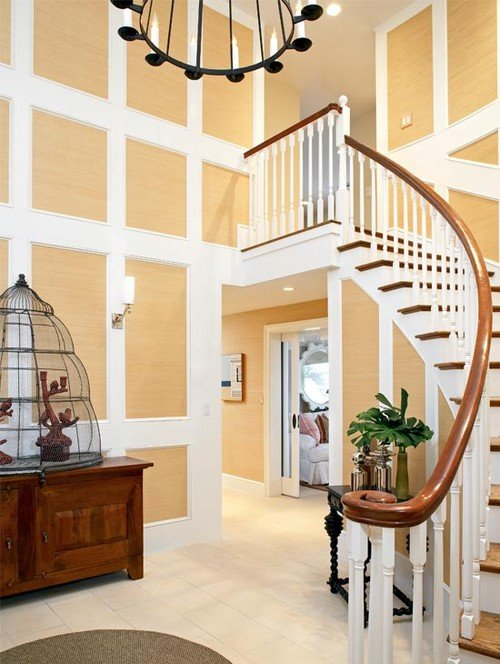 Winding Wood and White Staircase