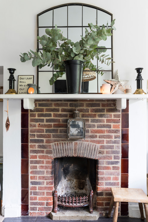 Vintage Brick Fireplace in Historic Home