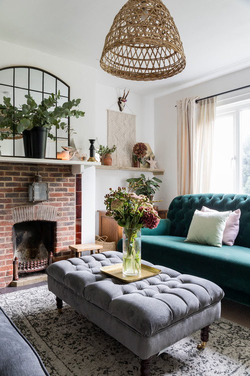 Tufted Furniture and Old World Fireplace in Hampshire County Home