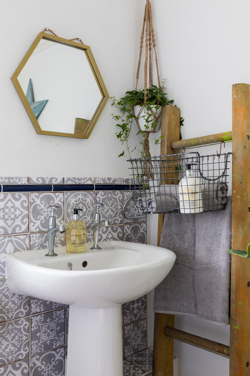Vintage Bathroom with Gray and White Tile