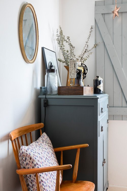 Vintage Gray Dresser with Vignette