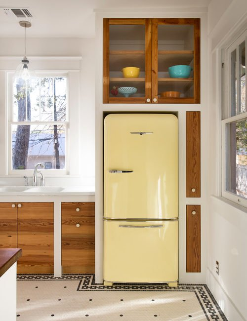 Yellow Refrigerator in Vintage Farmhouse Kitchen