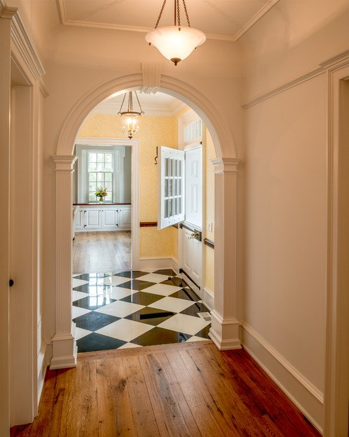 Traditional Hallway with Checkerboard Floor