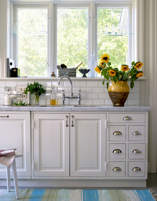Casual Bouquet of Sunflowers in White Kitchen