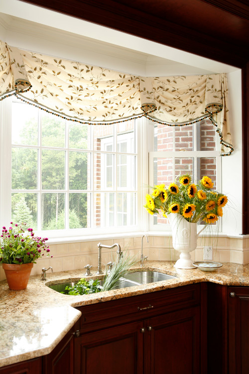 Sunflowers in a Country Kitchen Bay Window