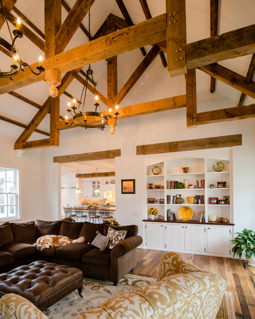 Rustic Living Room in New Construction House