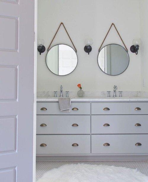 Gray and White Farmhouse Bathroom