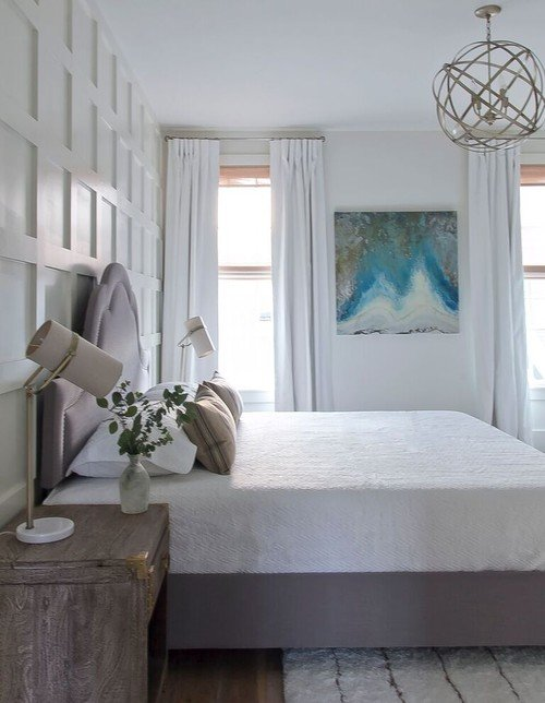 Farmhouse Bedroom in Gray and White