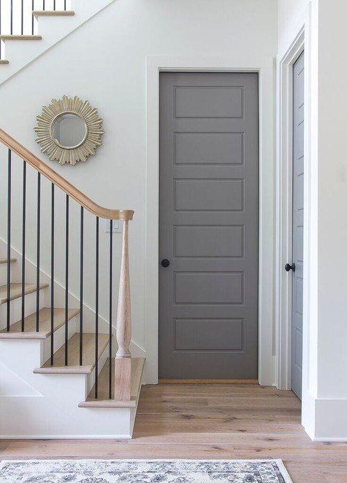 Paneled Wood Doors Painted Gray