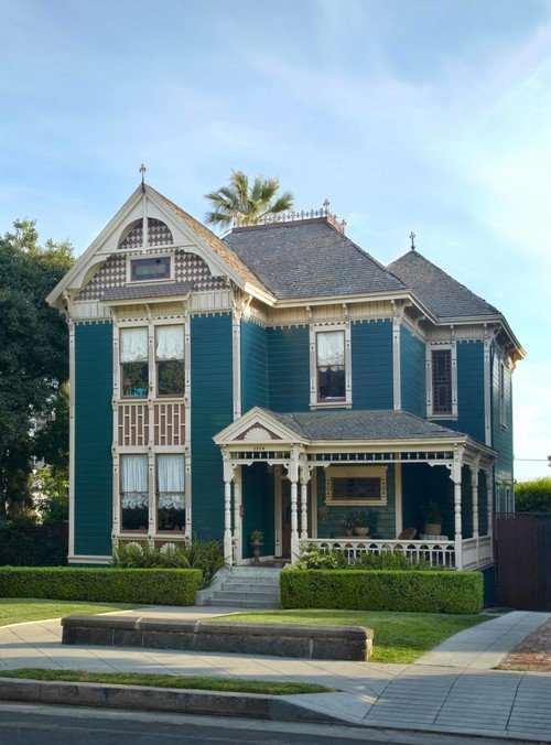Blue Victorian Home Exterior
